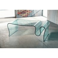 Coffee table, low in crystal, for living room, Isolda, float 10 mm, L 110 P 60 H 36, Made in Italy.