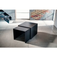 "Low coffee table for living room, bis black plate. Coffee table ""black metal"" ceramic + glass. Dimensions: 48 X 48 H 40 + 44 X 44 H 38."