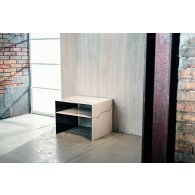 """Night table, glass + ceramic """"white or black marble""""."""