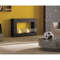 Floor fireplace in black painted metal, tempered glass. Two 1.5 liter burners and flame control tool.