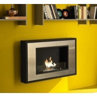 Wall fireplace with frame in satin steel. HOT FRAME.