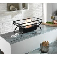 Brazier in black painted metal. 1.5 liter burner and flame control tool. pebbles in fireproof material included