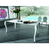 Dining table in glossy white lacquered wood, glossy white legs. Giada